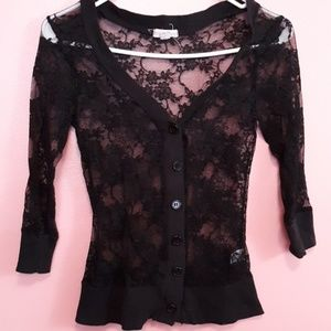 Tops - 🎁4 for $20🎁 Juniors Size Lace Button Up Cardigan